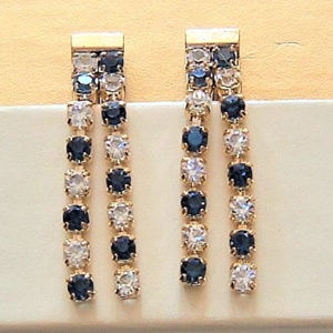 Blue Rhinestone Chandelier Clip Earrings